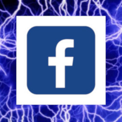 Facebook logo with static background